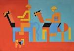 """DIONISIO DEL SANTO (1925-1999). """"Viagem a Cavalo"""", óleo s/tela, 1,36 x 2,00. Assinado e datado (1965) no c.i.d e no verso. Reproduzido com foto no catálogo. (Este lote não pode ser despachado via Correios)."""