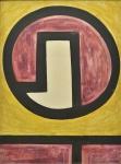 """AMILCAR DE CASTRO (1920-2002). """"Composição"""", acrílica s/madeira, 110 x 80. Assinado com dedicatória ao amigo Ivan Ribeiro no verso. Acompanha certificado de autenticidade emitido pelo """"Instituto Amilcar de Castro"""". Reproduzido com foto no catálogo."""