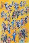 """SERGIO TELLES (1936). """"Noite de Gafieira na Estudantina - RJ"""", aquarela, 55 x 40. Assinado, localizado (Rio) e datado (2009) no c.i.d. e no verso. Reproduzido com foto no catálogo."""