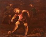 """TERUZ, ORLANDO (1902-1984). """"Meninos Jogando Bola"""", óleo s/ tela, 81 x 100. Assinado,  datado (1976) e localizado (Rio) no verso. (Alguns craquelês). Reproduzido com foto no catálogo."""
