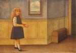"""REYNALDO FONSECA (1925). """"A Menina de Lacinho Azul com seu Diário"""", óleo s/ tela, 65 X 92. Assinado e datado (1963) no c.i.d. No verso cachet da famosa """"Galeria Contorno"""". Reproduzido com foto no catálogo."""