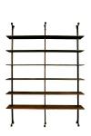 """SERGIO RODRIGUES (1927-2014). Estante modulada em Gonçalo Alves, suportada por 3 montantes retos com 6 prateleiras. Pés cilíndricos no feitio de sapatas. Guarnições em metal cromado. Alt.: 3,00m (podendo sofrer pequenas variações). Medida das prateleiras: 2,20 X 0,30. Esta estante foi produzida para a linha da loja """"Meia Pataca de 1968"""", e encontra-se registrada sob o nº EC-103 no """"Instituto Sergio Rodrigues"""". Reproduzido com foto no catálogo."""