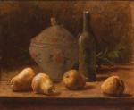 """PEDRO ALEXANDRINO (1856 - 1942). """"Terrina, Garrafa e Peras Sobre a Mesa"""", óleo s/ tela, 49 x 59. Assinado no c.i.e. (Circa 1900). Reproduzido com foto no catálogo."""