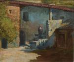 """FAUSTO GONÇALVES (PORTUGAL, 1893-1946). """"Casarão com Camponesa"""", óleo s/ madeira, 37 x 43. Assinado e datado (1921) no c.i.d."""