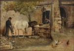 """GIUSEPPE ZANNONI (ITÁLIA, 1849-1903). """"Fundo de Quintal com Personagens, Cavalo e Galináceos"""", óleo s/ tela, 46 X 66. Assinado no c.i.d. Artista citado no Benezit."""