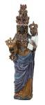 """MARIO ORMEZZANO (1915-1983). """"Virgen de Oropa"""" ou """"Madonna Nera di Oropa"""", grupo sacro em cerâmica esmaltada realçada a ouro, com incrustações de pedras semi preciosas. Alt.: 1,30m. O Santuário desta Virgem fica situado na Comuna de Biella - Piemonte (Itália) e também é a Santa padroeira da Cidade Lomas del Mirador (Argentina). Reproduzido com foto no catálogo."""