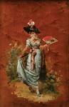 """IGNACIO ZULOAGA Y ZABALETA (ESPANHA, 1870-1945). """"Dama con Abanico"""", óleo s/ madeira, 32 X 21. Assinado no c.i.d. Esta obra fez parte da famosa Coleção Areal. Reproduzido com foto no catálogo."""