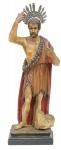 SÃO JOÃO BATISTA. Magnífica imagem em madeira policromada. Alt.: 63cm. Portugal - séc. XIX. Acompanha resplendor. Reproduzido com foto no catálogo.