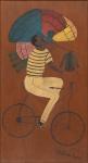 """HEITOR DOS PRAZERES (1898-1966). """"O Tintureiro"""", óleo s/ madeira, 56 X 31. Assinado e datado (1962) no c.i.d. Este quadro foi reproduzido na capa do convite da exposição do artista e realizada na """"La Galerie Debret"""" em Paris em 10 de Setembro de 1984. Reproduzido com foto no catálogo."""