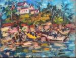 """SERGIO TELLES (1936). """"Dia de Sol em Santa Cruz de Crabrália - Bahia"""", óleo s/ madeira, 27 X 35. Assinado no c.i.d. e datado (2005) no verso. Reproduzido com foto no catálogo."""