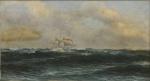 """BALLIESTER, CARLOS (1870-1927). """"Navio Escola em Mar Revolto"""", óleo s/ tela colado na madeira, 38 x 70. Assinado e datado (1925), localizado (Rio) no c.i.e. Reproduzido com foto no catalogo."""