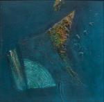 """WAKABAIASHI, KAZUO (1931). """"Abstração Azul"""", óleo s/ tela, 73 X 73. Assinado no lado direito e datado (1969) no verso. No verso cachet da tradicional """"Galeria Ipanema"""". Reproduzido com foto no catálogo."""