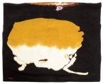 """MABE, MANABU (1924-1997). """"Composição abstrata"""", tapeçaria de parede. Medindo: 1,48 x 1,88. Assinado no c.i.e. Reproduzido com foto no catálogo."""