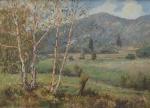"""CARLO AIMETTI  (ITÁLIA, 1901-1980). """"Paisagem com Árvores e Montanha"""", óleo s/ madeira, 49 X 68. Assinado no c.i.e. Apresenta cachet de galeria italiana no verso."""