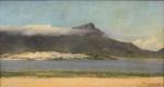"""THEODOR GAEDE (SÉC.XIX/XX). """"Marinha"""", óleo s/ tela, 42 x 75. Assinado e datado (1920) no c.i.d., Reproduzido com foto no catálogo."""