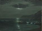 """GIUSEPPE FERRI (ITÁLIA, SÉC.XIX/XX). """"Marinha em Noite de Luar"""", óleo s/ tela, 60 x 80. Assinado no c.i.e."""