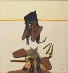 """EDUARDO KENJI TAKEBAYASHI (1949). """"Jovem Índia com Flor e Pássaros"""", óleo s/ tela, 70 x 65. Assinado e datado (1985) no c.i.d."""