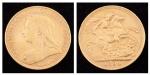 """Libra em ouro 22k do período """"Vitoriano"""", datada de 1894. Peso: 8g."""