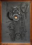 """JOHN PETER AWHER. """"Objeto"""", composição c/ colagem, 160 X 110. Assinado e datado (1990) no c.s.e."""