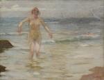 """PEDRO BRUNO (1888-1949). """"Encantos do Mar"""", óleo s/ tela, 72 x 93. Assinado e datado (1940) no c.i.d. Reproduzido com foto no catálogo."""