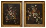 """MARGHERITA CAFFI (ITÁLIA, 1647-1710). Par de quadros: """"Vaso com Flores"""", óleo s/ tela, 86 X 65. Não apresenta assinatura. (Molduras necessitando de restauro). Reproduzido com foto no catálogo."""