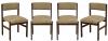 """Quatro cadeiras em jacarandá padrão """"Sérgio Rodrigues"""" com estrutura reta (década de 50). Assento e encosto forrado em tecido cinza. Estas cadeiras pertenceram às instalações do """"IPERJ-NITEROI"""" (apresenta placa de identificação). Reproduzido com foto no catálogo."""