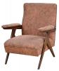 """ZANINE CALDAS (1919-2001) - Cadeira de braço em pau-marfim, Brasil - 1950. Braços retos e pernas em feitio de """"V"""" invertido. Assento e encosto forrados em tecido floral na cor coral. Reproduzido com foto no catálogo."""
