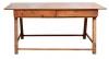 Mesa rústica de fazenda em peroba, Minas-Séc. XVIII. Frente com 2 gavetões. Pernas de cavalete. Alt.: 85cm. Comp.: 1,80. Larg.: 85cm.