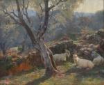 """ANTONIO FERNANDEZ (ESPANHA, 1882-1970). """"Paisagem Campestre com Rebanho de Cabras"""", óleo s/ tela, 78 X 94. Assinado no c.i.d. Artista citado no Benezit. Reproduzido com foto no catálogo."""