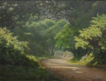 """EDGAR WALTER (1917-1994). """"Subida do Corcovado - RJ"""", óleo s/ tela, 88 X 116. Assinado no c.i.d. Reproduzido com foto no catálogo."""