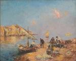 """JULIEN GUSTAVE GAGLIARDINI (FRANÇA, 1846-1927). """"Rive ensoleille"""", óleo s/ tela, 61 X 73. Assinado no c.i.d. No verso cachet da tradicional """"Galeria Jorge"""". Reproduzido com foto no catálogo."""