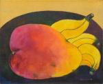 """ALDEMIR MARTINS (1922-2006). """"Manga e Bananas"""", óleo s/ tela, 82 X 100. Assinado e datado (1989) no c.i.d. e no verso. Reproduzido com foto no catálogo."""