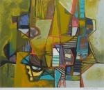 """BURLE MARX, ROBERTO (1909-1994). """"Sem título"""", serigrafia a cores, 70 x 80. Assinado no c.i.d. Apresenta marca d'água do """"Projeto Burle Marx""""."""