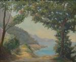 """SAAVEDRA, DAVID CORREA (1901-1968). """"Paisagem com Costão em Niterói"""", óleo s/ tela, 38 X 46. Assinado no c.i.d. (Década de 40)."""