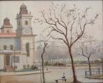 """SAAVEDRA, DAVID CORREA (1901-1968). """"Cena Urbana no Rio com Praça e Catedral"""", óleo s/ eucatex, 38 X 46. Assinado no c.i.e. (Década de 50)."""