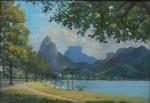 """SAAVEDRA, DAVID CORREA (1901-1968). """"Lagoa Rodrigo de Freitas ao Fundo Morro Dois Irmãos e Pedra da Gávea"""", óleo s/ eucatex, 32 X 46. Assinado no c.i.e. (Década de 50)."""
