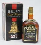 """Raro whisky escocês da marca """"Bell's - Royal Reserve"""" (20 anos). Embalagem original."""