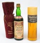 """Dois Whiskies de coleção escoceses das marcas """"Inver House"""" (sacola em veludo) e """"Tomintoul Glenlivet""""."""