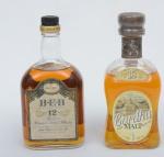 """Dois raros Whiskies de coleção escoceses das marcas """"Cardhu"""" e """"B.E.B."""" (12 anos)."""
