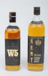 """Dois raros Whiskies de coleção escoceses das marcas """"W5"""" e """"Kent""""."""