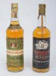 """Dois raros Whiskies de coleção escoceses das marcas """"Scotch Pillar"""" e """"Tamnavulin Glenlivet - The Old Mill""""."""