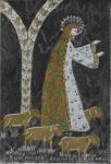 """ROSINA BECKER DO VALLE (1914-2000). """"O Bom Pastor"""", óleo s/ tela com aplicações em alto relevo, 26 X 18. Assinado e datado (1973) na parte inferior e no verso. Reproduzido com foto no catálogo."""