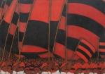"""JOSE SABÓIA (1949). """"Imensa Torcida do Flamengo"""", óleo s/ tela, 65 X 92. Assinado no c.i.d."""