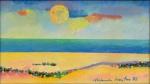 """ALDEMIR MARTINS (1922-2006). """"Marinha"""", óleo s/ tela, 16 X 28. Assinado e datado (1988) no c.i.d. e no verso."""