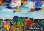 """ALDEMIR MARTINS (1922-2006). """"Abstrato"""", óleo s/ tela, 18 X 24. Assinado e datado (1983) no c.i.d. e no verso."""