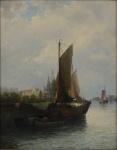 """RUDOLF GIFFINGER (EUROPA, SÉC. XIX-XX). """"Escunas Atracadas no Cais"""", óleo s/ madeira, 53 X 42. Assinado no c.i.d. Reproduzido com foto no catálogo."""