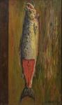 """KAMINAGAI, TADASHI (1889-1982). """"Salmão"""", óleo s/ tela, 100 X 60. Assinado no c.i.d. Reproduzido com foto no catálogo."""