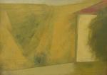 """SCLIAR, CARLOS (1920-2001). """"Paisagem LV"""", vinil e colagem encerado s/ tela, 55 x 75. Assinado e datado (1984/1985) no c.i.d e no verso. Reproduzido com foto no catálogo."""