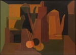"""SCLIAR, CARLOS (1920-2001). """"Natureza Morta Encucada"""", vinil e colagem encerados s/ tela, 55 x 75. Assinado e datado (1970) no c.i.e. e no verso. Apresenta cachet do """"Museu de Arte Moderna do Rio de Janeiro"""" no verso. Reproduzido com foto no catálogo."""
