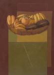 """SCLIAR, CARLOS (1920-2001). """"Bananas, Berinjelas e Laranjas"""", vinil e colagem encerados s/ tela, 75 X 55. Assinado e datado (1980) no c.i.e. e no verso. Reproduzido com foto no catálogo."""